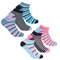 Ladies 3 Pack Bamboo Trainer Socks Stripe Design