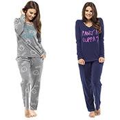 Ladies Printed Slogan Pyjama Set Alarm/Cuppa