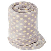 Faux Fur Mink Spotty Blanket Light Grey