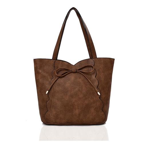 Bow Detail Tote Bag Khaki