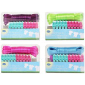 20 Plastic Pegs With Washing Line Set
