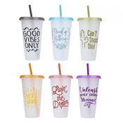 700ml Frosted Cup With Colour Lid & Straw