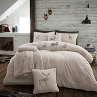 Stag Embroidered Soft Teddy Feel Duvet Set Natural