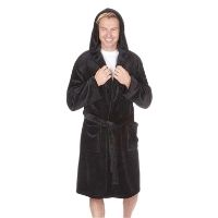 Mens Flannel Hooded Gown Black