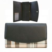 Camila Tartan Contrast Faux Leather Purse Black