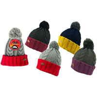 Mens Heat Machine Pom Pom Hat with Contrast Turnup