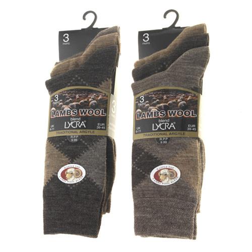 Mens Lambs Wool Blend Short Socks