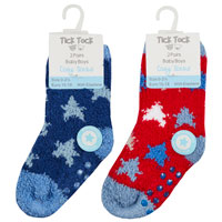 Baby Boys 2 Pack Cosy Socks With Grippers