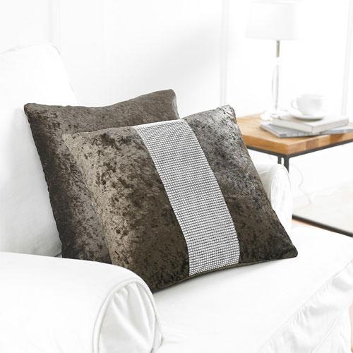 2 Brown Diamante Cushion Covers
