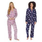 Ladies Fleece Pyjama Set Chequered/Owl