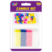 Bright Coloured Candle Set 100 Pieces