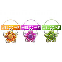 Hanging Welcome Flower Sign