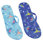 Ladies Parrot Print Flip Flop Teal/Navy