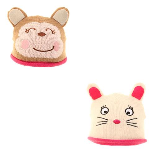 Baby Knitted Animal Beanie Hat Cat/Monkey
