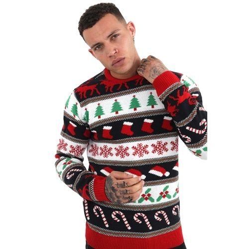 Mens Crew Neck Christmas Jumper - Fairisle