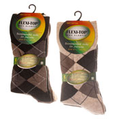 Flexi-Top Non Elastic Diabetic Socks Argyle Brown