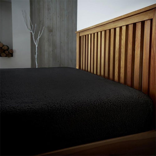Super Soft Teddy Feel Fitted Bed Sheet Black