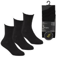 Kids 3 Pack Bamboo Ankle Socks Black
