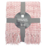 Luxury Chenille Woven Throw Pink