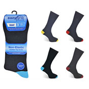 Mens Eazy Grip Non Elastic Socks Coloured Heal & Toe