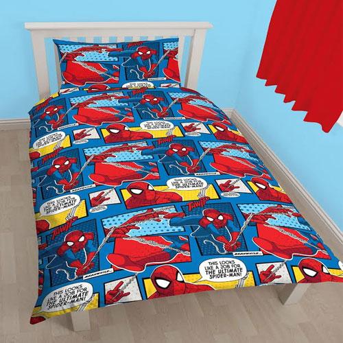 Reversible Ultimate Spider-Man Single Duvet Set Web Head