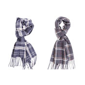 Mens Navy/Grey Check Scarf
