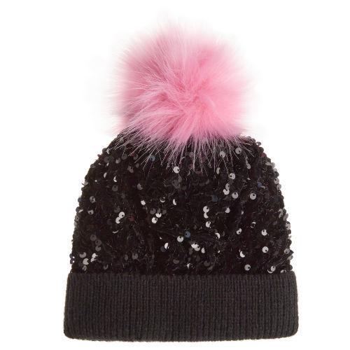 Girls Sequin Bobble Hat 2-6 Years