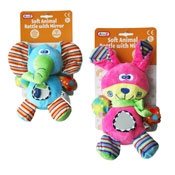 Baby Soft Animal Rattle With Mirror