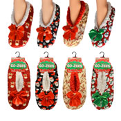 CoZees Ladies Fleece Slippers Christmas Design
