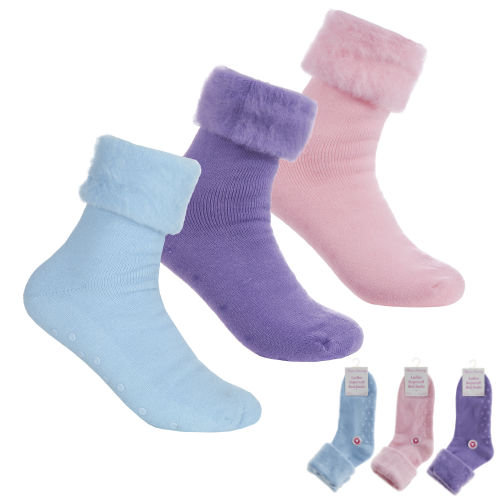 Ladies Supersoft Bed Socks With Grippers Pastel