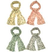 Ladies Scarves Butterfly Print Crinkle