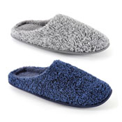 Mens Soft Fleece Slippers Fluffy Plain Blue/Grey