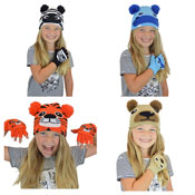 Kids Animal Design Hat & Glove Set