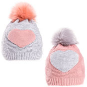 Girls Heart Print Lined Bobble Hat With Faux Fur Pom Pom