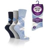 Ladies Gentle Grip Socks Argyle Blues
