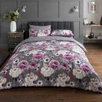 Inky Floral Grey Duvet Set