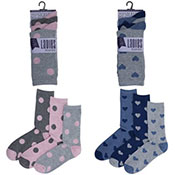 Ladies Dots/Hearts Design Socks 3 Pack
