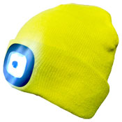 Unisex LED Hi Vis Yellow Beanie Hat