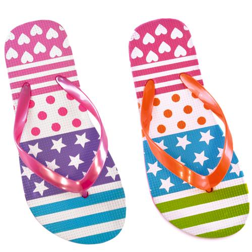 Toddler Neon Pattern Print Flip Flops