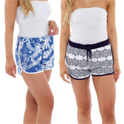 Ladies Printed Jersey Shorts Blue/Navy