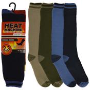 Mens Heat Machine Thermal Long Stripe Socks