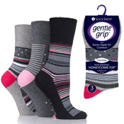 Ladies Gentle Grip Socks Dots/Stripes