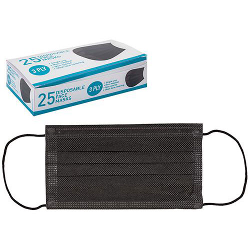 Black 3 Ply Disposable Face Masks 25 Pack