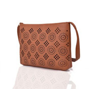 Ladies Aztec Cut Out Crossbody Bag Tan