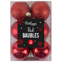 Red Christmas Baubles 12 Pack