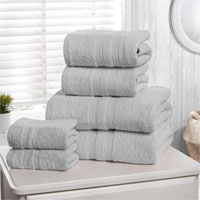 6 Piece Hotel Quality Towel Bale Silver