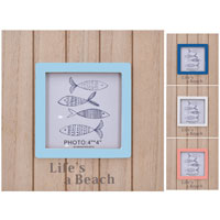 Wooden Block Photo Frame With Stand Lifes A Beach