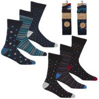 Mens 3 Pack Bamboo Spot And Stripe Design Socks