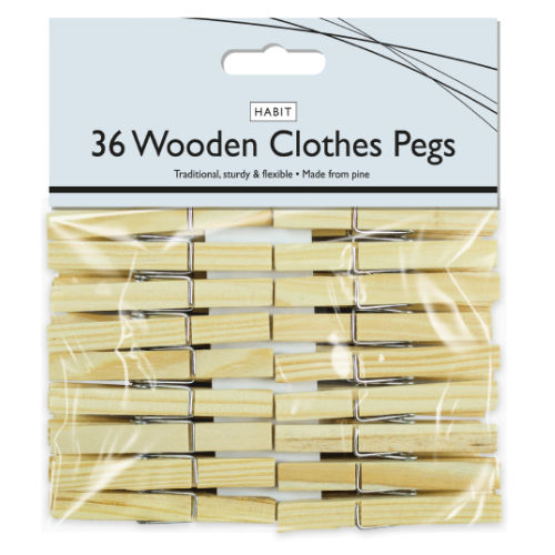 Wooden Clothes Pegs 36 Pack