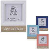Wooden Block Photo Frame Lifes A Beach 4 Inch